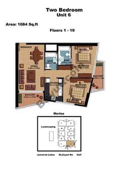 2 Bedroom Unit 6 Floors (1-19)