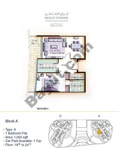 Block A 1 bed Type 9 Floor (18th-24th)