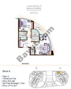 Block A 1 bed Type 6 Floor (3rd-24th)