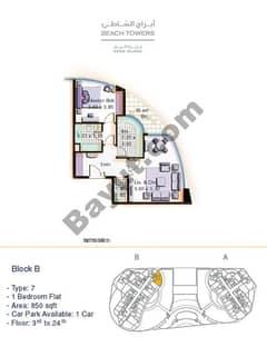 Block B 1 bed Type 7 Floor (3rd-24th)