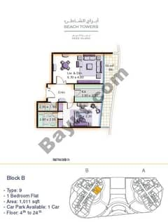 Block B 1 bed Type 9 Floor (4th-24th)