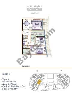 Block B 2 bed Type 6 Floor (4th-24th)
