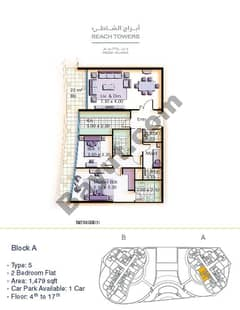 Block A 2 bed Type 5 Floor (4th-17th)