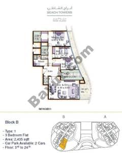 Block B 3 bed Type 1 Floor (3rd-24th)