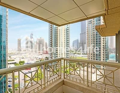 2 Bedroom Flat for Rent in Downtown Dubai, Dubai - Partial Burj and Fountain view 2 Bedroom