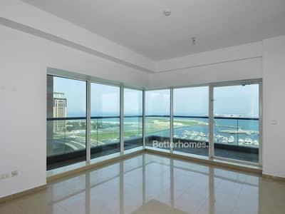 2 Bedroom Flat for Rent in Dubai Marina, Dubai - Sea View | Low Floor | Maid's | Unfurnished