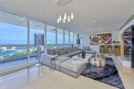 3 Bedroom Flat for Rent in Dubai Marina, Dubai - Sea & Palm View - Unfurnished - High Floor