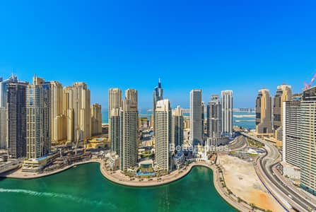 2 Bedroom Apartment for Rent in Dubai Marina, Dubai - 2 bed rooms in Time Place full Marina view