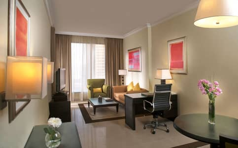 1 Bedroom Hotel Apartment for Rent in Dubai Media City, Dubai - Big  Furnished 1 BHK with free bills and balcony