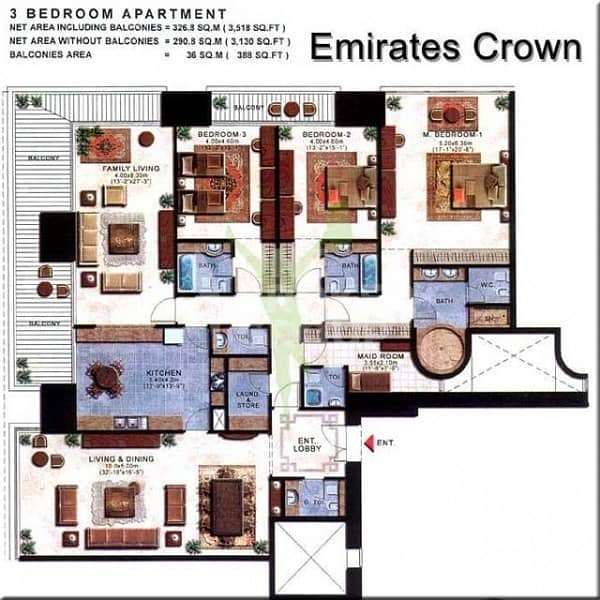 22 Exclusive!!! Largest 3BR+m full sea view