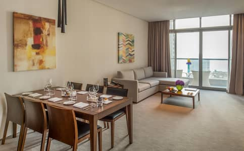 2 Bedroom Hotel Apartment for Rent in Dubai Marina, Dubai - Waterfront Serviced 2 Bedroom Residence Sea View