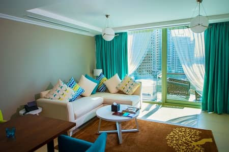 2 Bedroom Hotel Apartment for Rent in Dubai Marina, Dubai - Living Room