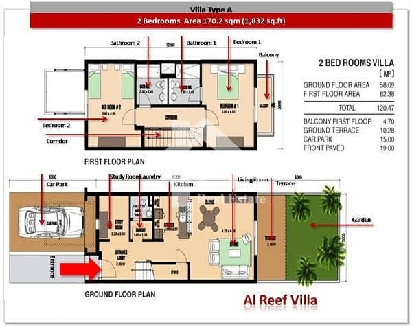 2 2 Bedroom Mediterranean Villa For Sale In Reef Villa
