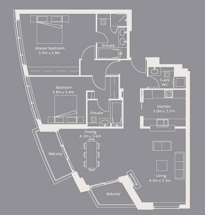 10 Burj Khalifa View | Two Bedroom | Vacant