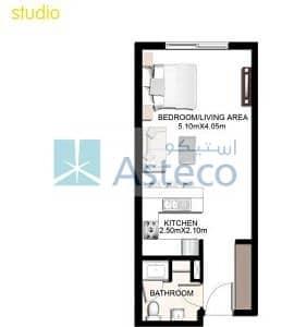 14 Al Badrah Studio for rent/ 1 Month rent free Dubai Waterfront