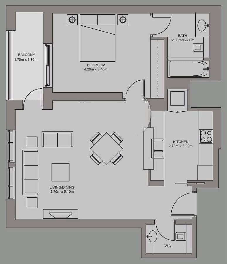 10 One Bed | Courtyard Views | 1.5 Bathroom
