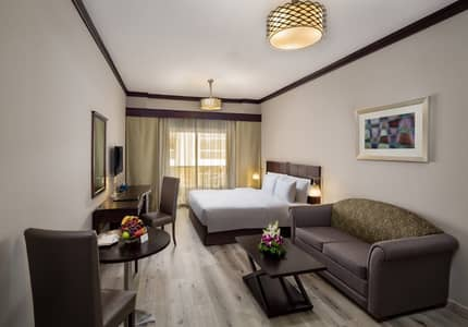 Hotel Apartment for Rent in Bur Dubai, Dubai - Newly Renovated Studio Apartments with Gym, Pool, Sauna & Steam Room, WIFI, Nearby Supermarkets & Metro / Bus stations DEWA Inclusive/No Deposit/ No Commission / Flexible Payment /Fully Furnished