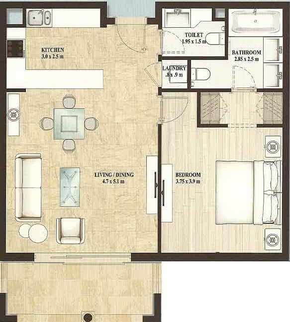 10 One Bed | Balcony | Tower B | High Floor