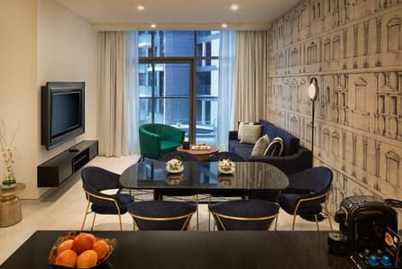 2 Bedroom Hotel Apartment for Rent in Business Bay, Dubai - Living room