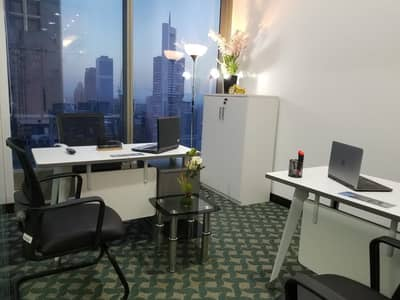 Office for Rent in Sheikh Zayed Road, Dubai - FULLY FURNISHED BEAUTIFUL COMPACT OFFICES BURJ KHALIFA & SEA VIEW /DEWA