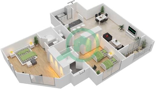 المخططات الطابقية لتصميم الوحدة A-04 شقة 2 غرفة نوم - مردف توليب