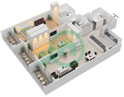 المخططات الطابقية لتصميم الوحدة C-01 شقة 2 غرفة نوم - مردف توليب
