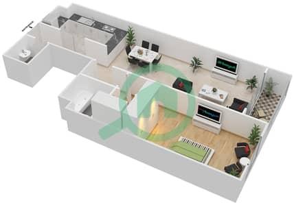 المخططات الطابقية لتصميم الوحدة C-05 شقة 1 غرفة نوم - مردف توليب