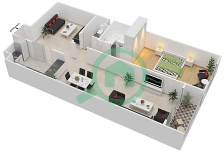 المخططات الطابقية لتصميم الوحدة C-06 شقة 1 غرفة نوم - مردف توليب