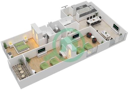 المخططات الطابقية لتصميم الوحدة C-04 شقة 3 غرف نوم - مردف توليب