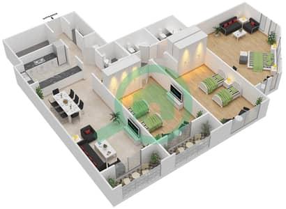 المخططات الطابقية لتصميم الوحدة C-02 شقة 3 غرف نوم - مردف توليب