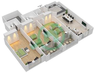 المخططات الطابقية لتصميم الوحدة C-03 شقة 3 غرف نوم - مردف توليب