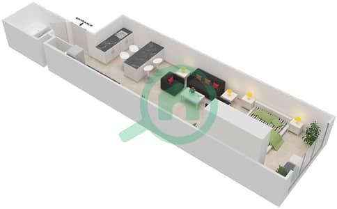 المخططات الطابقية لتصميم الوحدة B-02 شقة  - مردف توليب