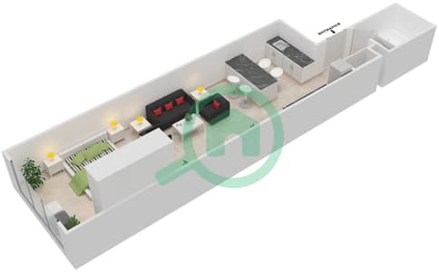 المخططات الطابقية لتصميم الوحدة B-05 شقة  - مردف توليب