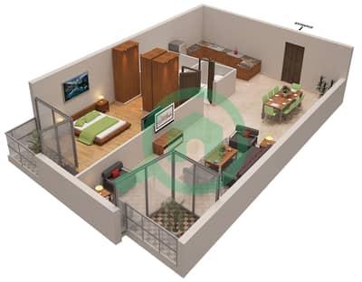 المخططات الطابقية لتصميم الوحدة 2 شقة 1 غرفة نوم - أوشن هايتس