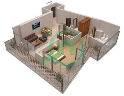 المخططات الطابقية لتصميم الوحدة 4 شقة 1 غرفة نوم - أوشن هايتس