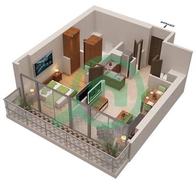 المخططات الطابقية لتصميم الوحدة 5 شقة 1 غرفة نوم - أوشن هايتس