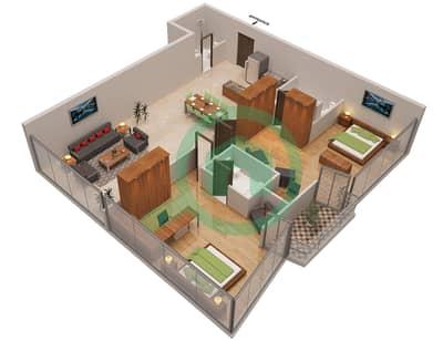 المخططات الطابقية لتصميم الوحدة 7 شقة 2 غرفة نوم - أوشن هايتس