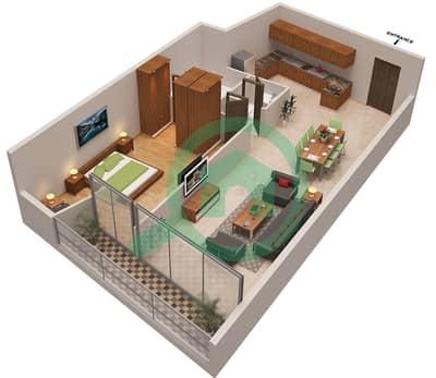 المخططات الطابقية لتصميم الوحدة 3 شقة 1 غرفة نوم - أوشن هايتس