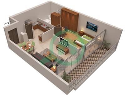 المخططات الطابقية لتصميم الوحدة 6 شقة 1 غرفة نوم - أوشن هايتس