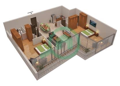 المخططات الطابقية لتصميم الوحدة 8 شقة 2 غرفة نوم - أوشن هايتس