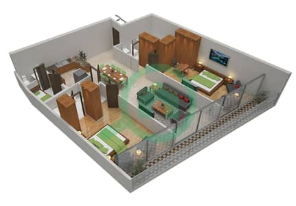 المخططات الطابقية لتصميم الوحدة 10 شقة 2 غرفة نوم - أوشن هايتس