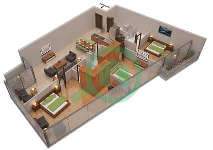 المخططات الطابقية لتصميم الوحدة 1 شقة 3 غرف نوم - أوشن هايتس