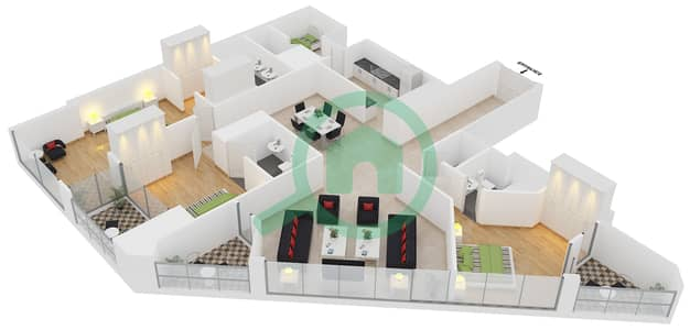23 Marina - 3 Bedroom Apartment Unit 3 FLOOR 8-31 Floor plan