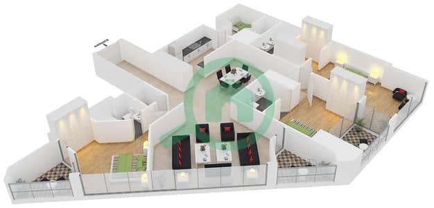 23 Marina - 3 Bedroom Apartment Unit 1 FLOOR 8-31 Floor plan