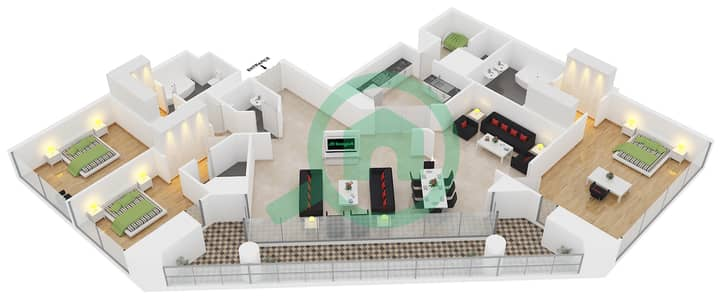 23 Marina - 3 Bedroom Apartment Unit 1 FLOOR 35-58 Floor plan