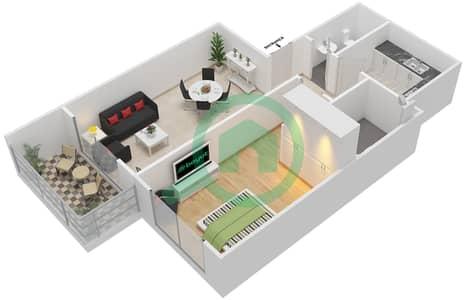 المخططات الطابقية لتصميم الوحدة 17 شقة 1 غرفة نوم - برج الزنبق