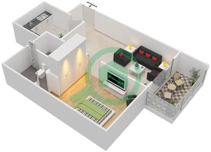 المخططات الطابقية لتصميم الوحدة 16 شقة 1 غرفة نوم - برج الزنبق