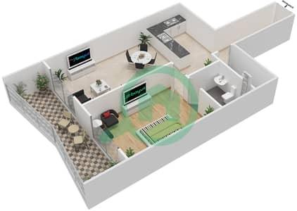 المخططات الطابقية لتصميم الوحدة 14 شقة 1 غرفة نوم - برج الزنبق