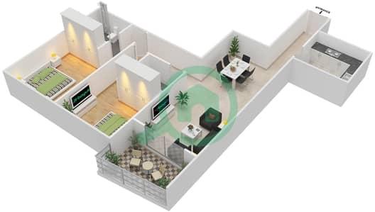 المخططات الطابقية لتصميم الوحدة 13 شقة 2 غرفة نوم - برج الزنبق