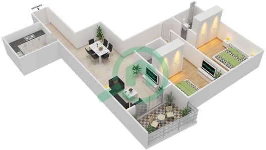 المخططات الطابقية لتصميم الوحدة 6 شقة 2 غرفة نوم - برج الزنبق